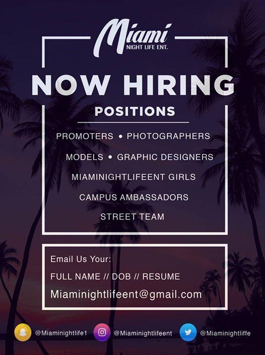 Miaminightlifeent Now Hiring FIU Casting Call 081919