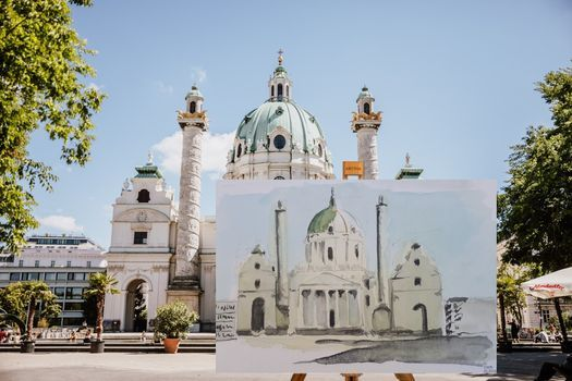 Karlskirche in Aquarell