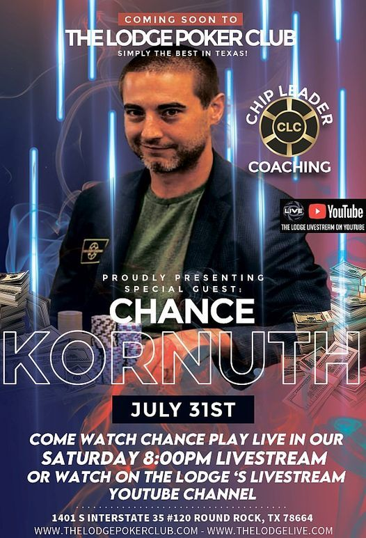 Chance Kornuth 8pm Livestream -Meet & Greet July 31st, 31 July   Event in Round Rock   AllEvents.in