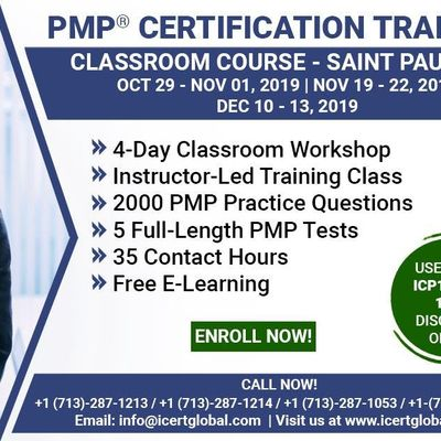 PMP Certification Training Course in Saint Paul MN USA  4-Day PMP Boot Camp with PMI Membership and PMP Exam Fees Included