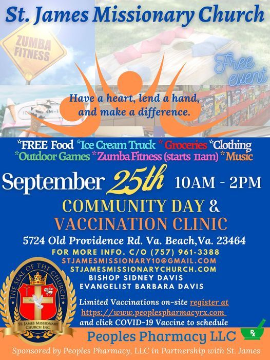 St. James Community Day & Vaccination Clinic (FREE EVENT), 25 September   Event in Virginia Beach   AllEvents.in