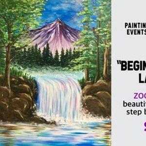 Beginners Bob Ross Landscape - Paint Night on Zoom
