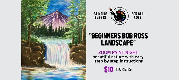 """""""Beginners Bob Ross Landscape"""" - Paint Night on Zoom, 28 February   Online Event   AllEvents.in"""