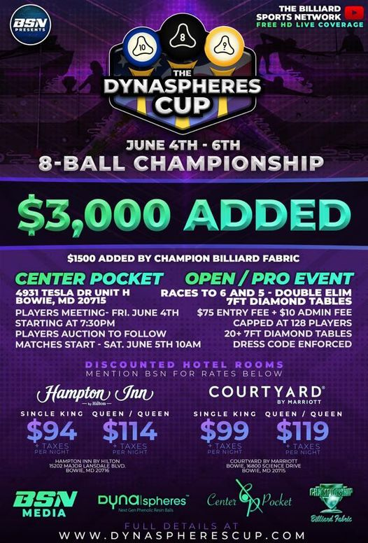 The Dyna|Spheres Cup 8-Ball Championship- $1,500 ADDED, 4 June | Event in Crownsville | AllEvents.in