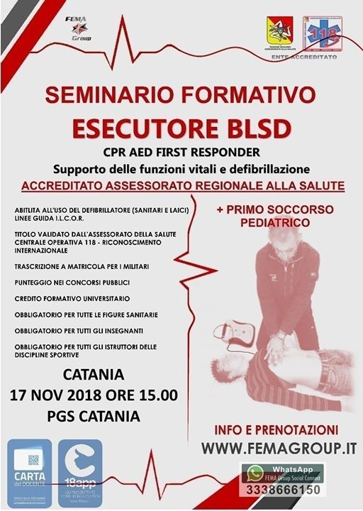 Catania Seminario Formativo Primo Soccorso BLSD