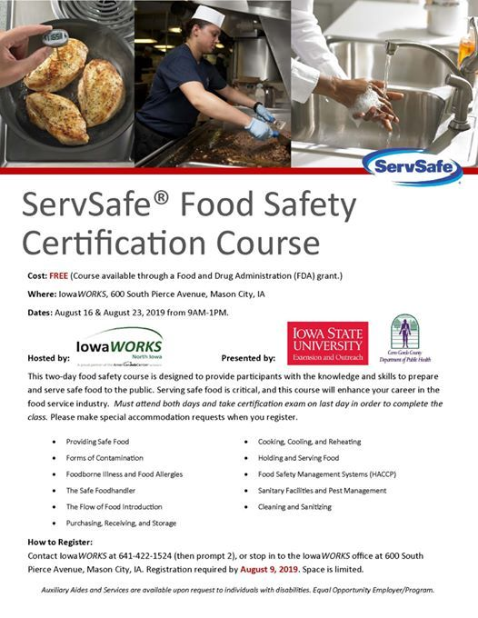 ServSafe Food Safety Certification Course at IowaWORKS
