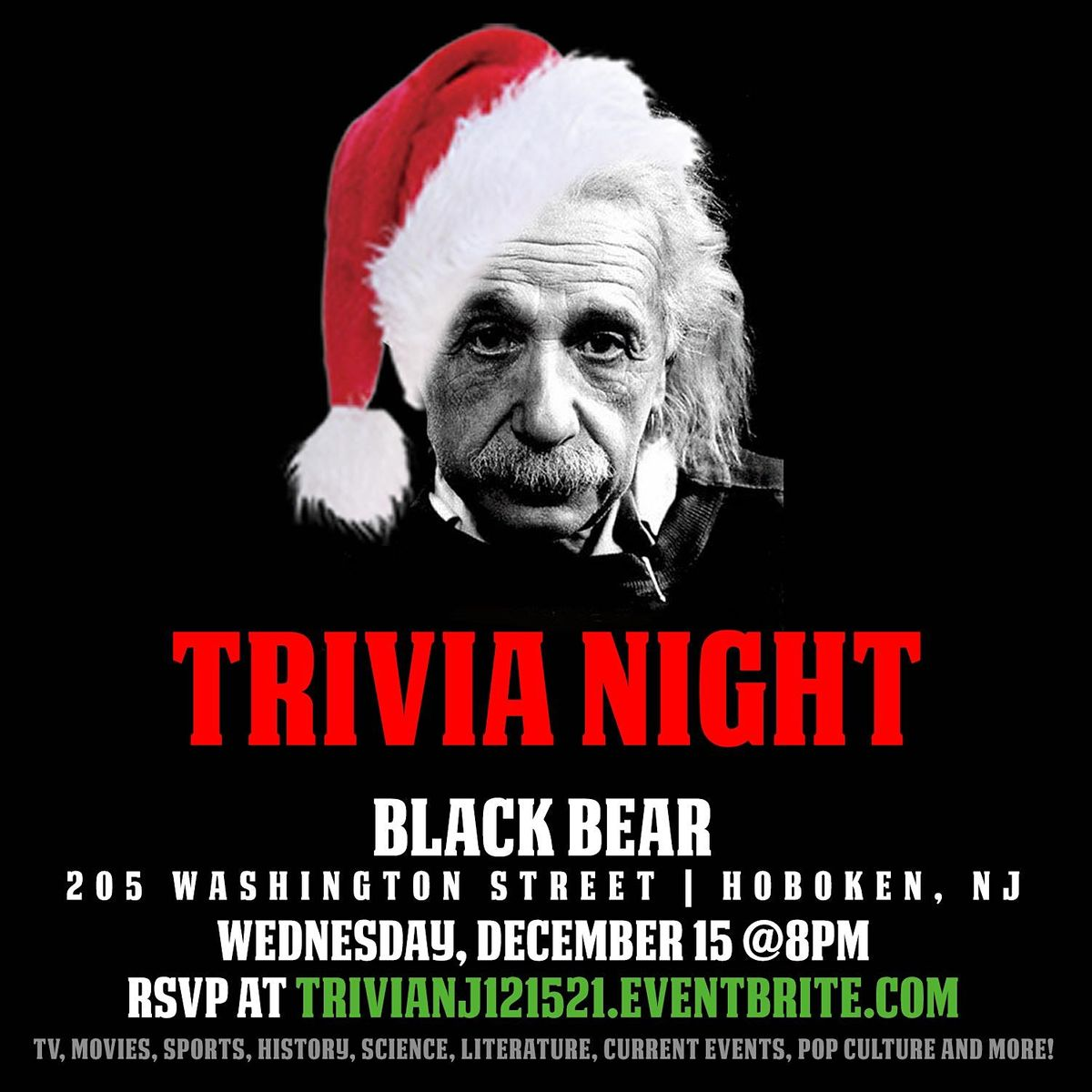 General Trivia Night (Holiday-themed), 15 December | Event in Hoboken | AllEvents.in