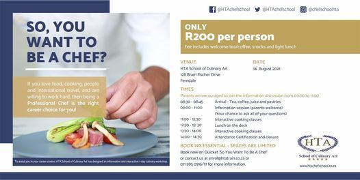 So, you want to be a Chef?, 14 August | Event in Randburg | AllEvents.in
