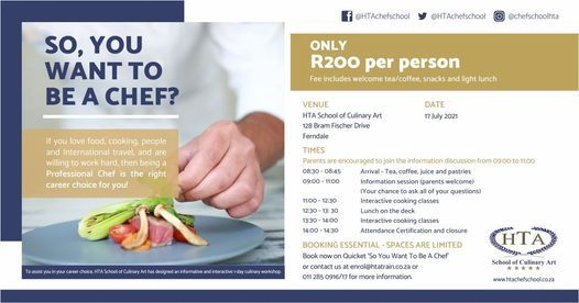 So, you want to be a Chef?, 17 July | Event in Randburg | AllEvents.in