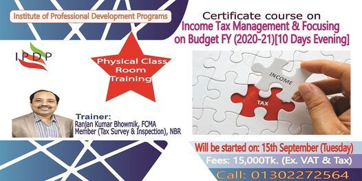 Certificate course on Income Tax Management & Budget (2020-21)