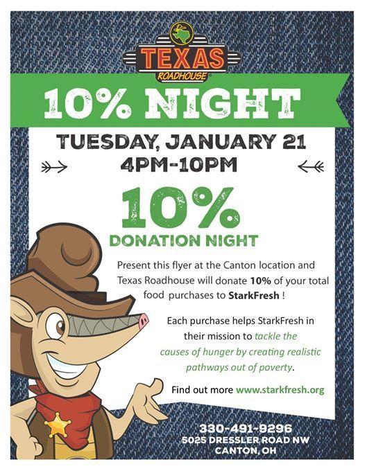 Texas Roadhouse Fundraiser 10% Donation Night