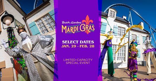 Busch Gardens Williamsburg 2022 Calendar.Busch Gardens Mardi Gras Limited Capacity Special Event Busch Gardens Williamsburg February 28 2021 Allevents In