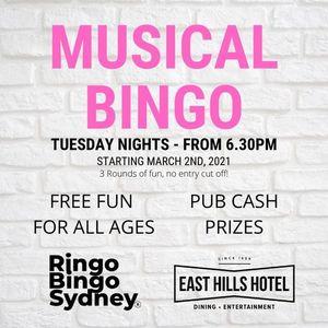 RINGO BINGO at the East Hills Hotel Tuesdays PRIZES