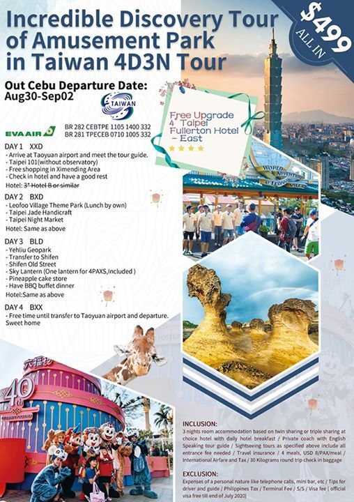 4Days 3Nights All In Taiwan Tour Package at Zubu Travel and Tours