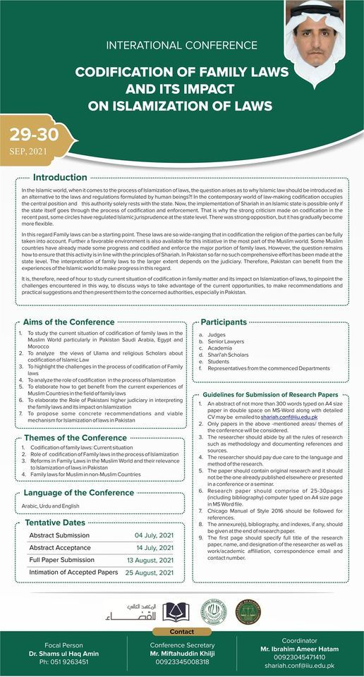 INTERATIONAL CONFERENCE   CODIFICATION OF FAMILY LAWS AND ITS IMPACT ON ISLAMIZATION OF LAWS, 29 September