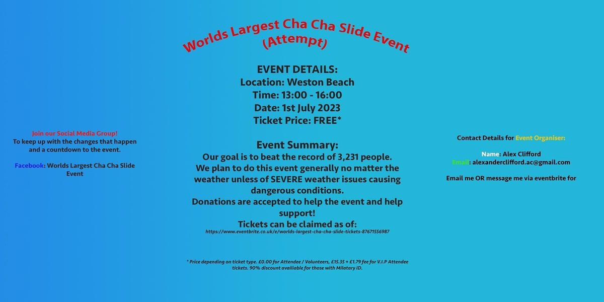 Worlds Largest Cha Cha Slide!!, 1 July | Event in Weston-super-Mare | AllEvents.in