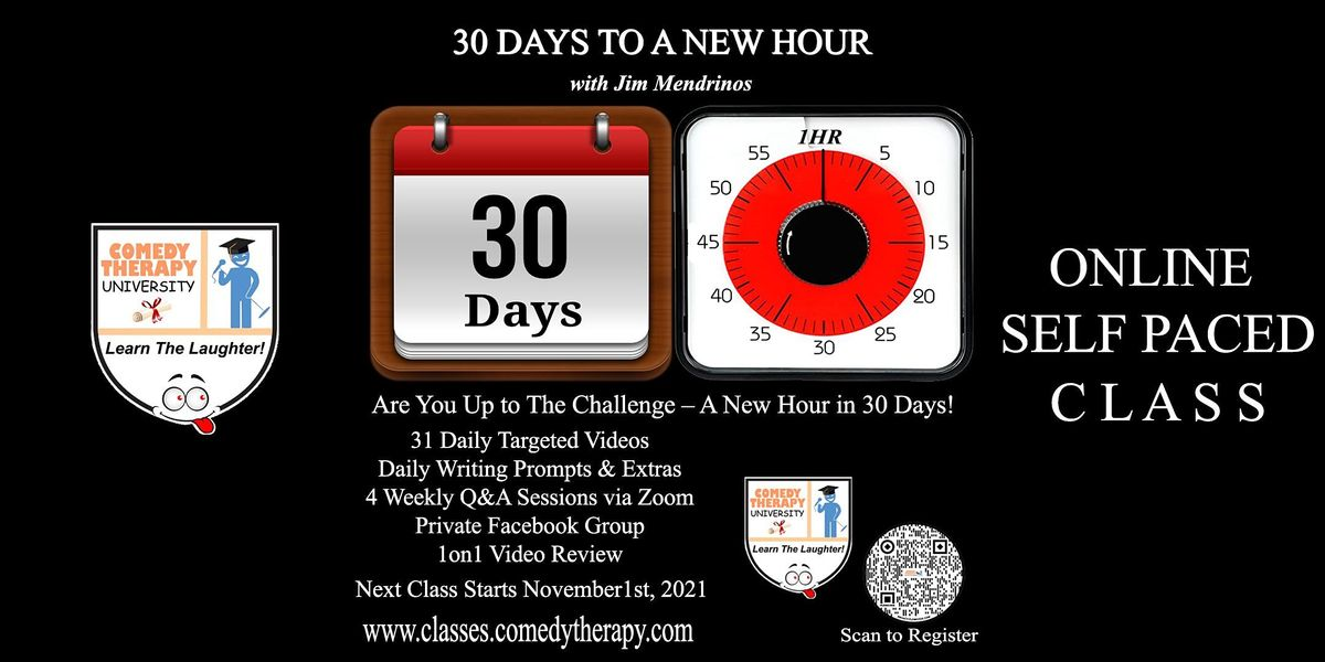 30 Days to a New Hour with Jim Mendrinos, 1 November   Online Event   AllEvents.in