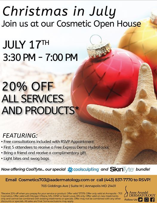 Christmas in July Cosmetic Open House at Anne Arundel