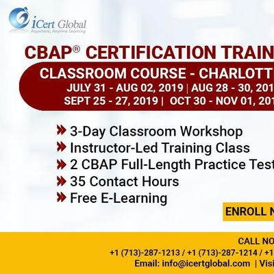 CBAP- (Certified Business Analysis Professional) Certification Training Course in Charlotte NC USA.