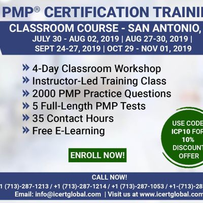 PMP (Project Management) Certification Training In San Antonio TX USA  4-Day (PMP) Boot Camp