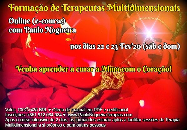 CURSO ONLINE DE TERAPIA MULTIDIMENSIONAL em Fev20 c Paulo Nogueira