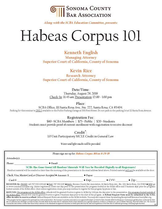Habeas Corpus 101 at Sonoma County Bar Association, Santa Rosa