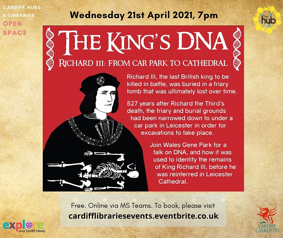 The King's DNA: Cardiff Hubs & Libraries' Open Space | Online Event | AllEvents.in