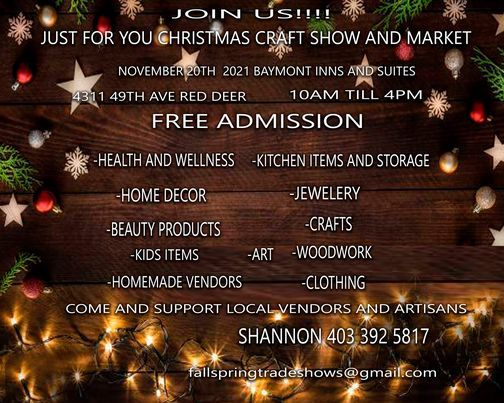 Just For You Christmas Craft Show and Market, 20 November | Event in Red Deer | AllEvents.in