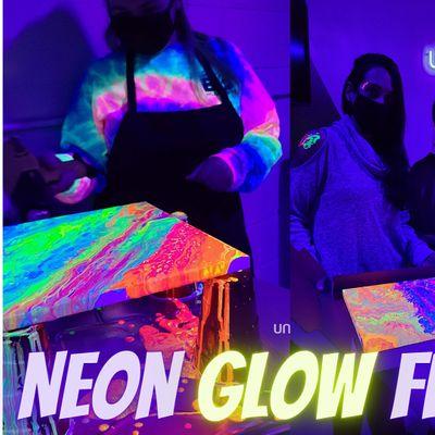 Neon GLOW Acrylic Fluid Painting (Kid Friendly)