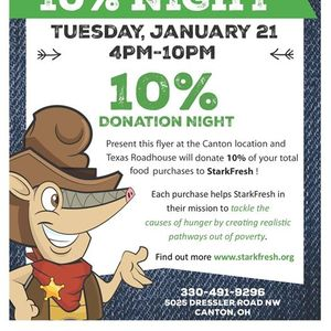 Texas Roadhouse Fundraiser 10% Donation Night