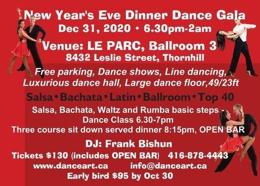 New Years Eve Latin and Ballroom Dinner Dance Dec 31, 2020, Le Parc Banquet and Conference ...
