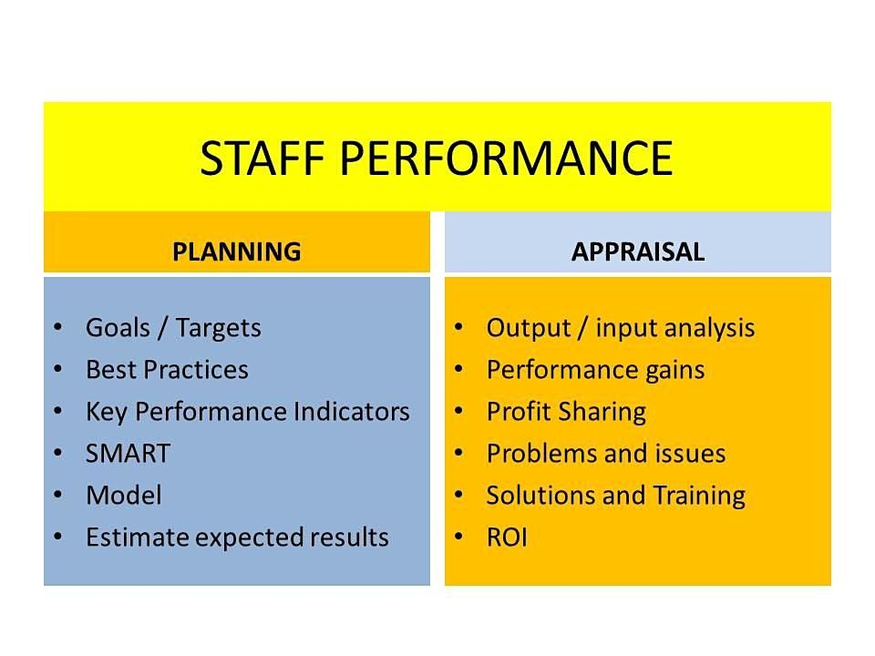PERFORMANCE PLANNING AND APPRAISAL FOR STAFF  objective measures