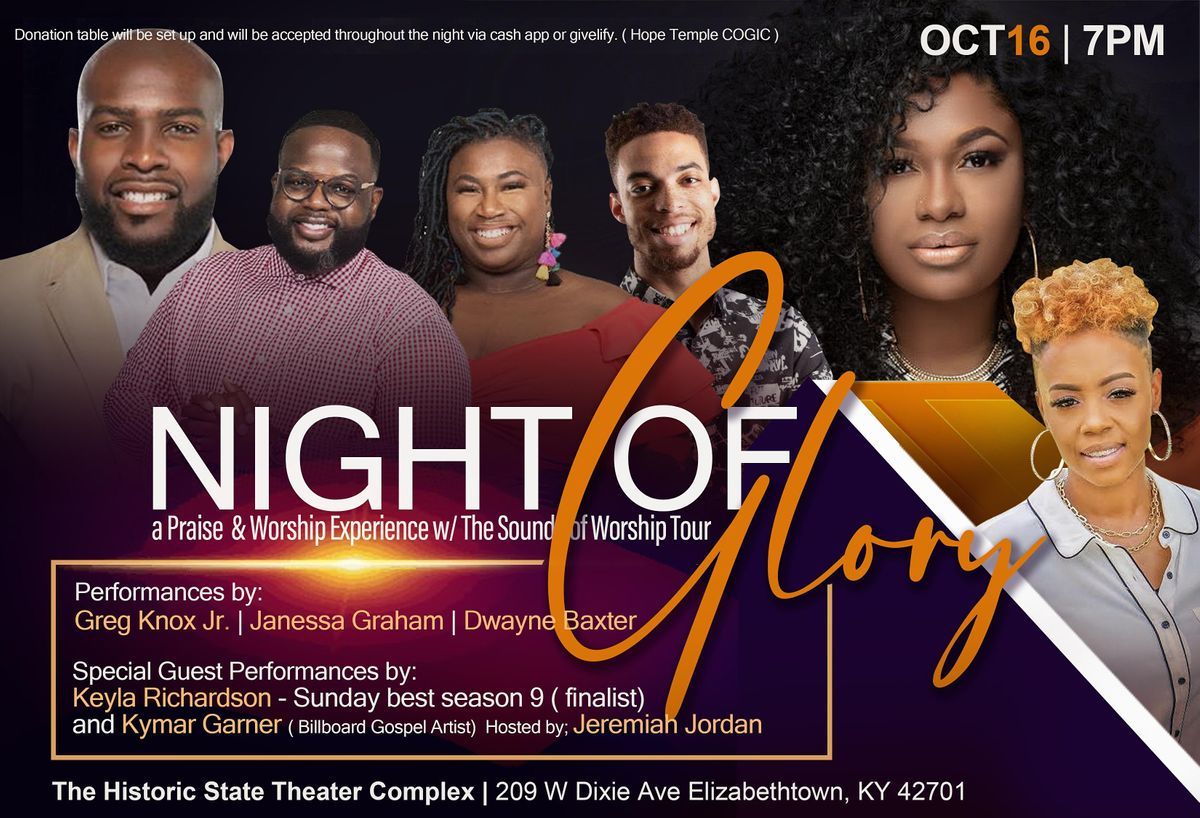 Night of Glory a Praise and Worship Experience with Sounds of Worship tour, 16 October | Event in Elizabethtown