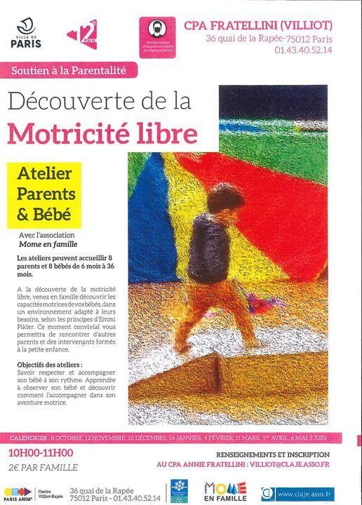 Repair Café Paris Calendrier 2021 Atelier parents bébés: Découverte de la motricité libre, Centre