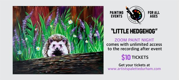 """Little Hedgehog"" - Paint Night on Zoom, 14 May 