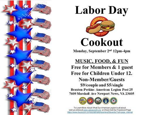 Labor Day Cookout At American Legion Braxton Perkins Post 25