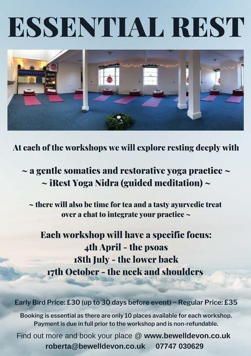 Essential Rest - gentle somatics yoga and yoga nidra workshop