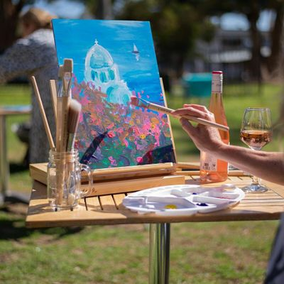 Rose & Renoir   - We paint Santorini-  2 adults for the price of 1-SPECIAL