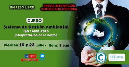 Curso Gratuito: Sistema de Gestión Ambiental - ISO 14001, 16 July | Event in San Martín de Porres | AllEvents.in