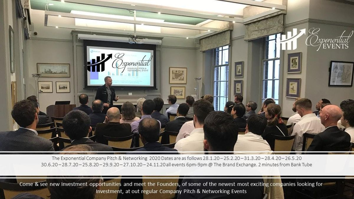 London August 2020 Events.Exponential Events Investment Pitch Networking August