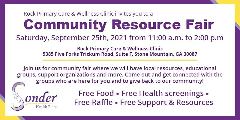Free Community Resource Fair Sponsored by Sonder Health Plans, 25 September   Event in Stone Mountain   AllEvents.in