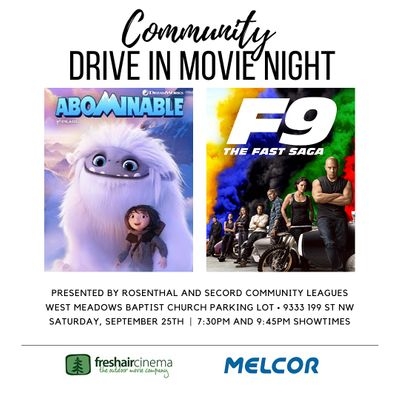 Community Drive In Movie Night (Secord and Rosenthal Community Leagues)
