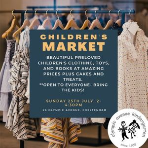 Childrens clothing books and toys market including cake and delicious treats stalls