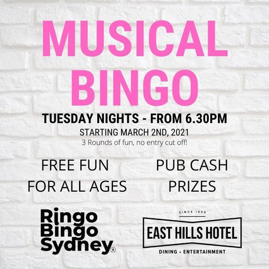RINGO BINGO at the East Hills Hotel Tuesday's PRIZES   Event in Sutherland   AllEvents.in
