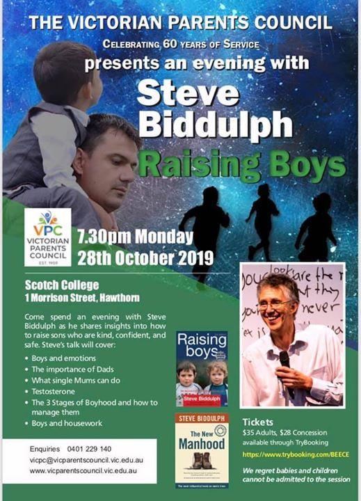 VPC hosting an evening with Steve Biddulph Raising Boys