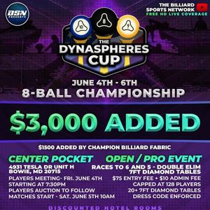 The DynaSpheres Cup 8-Ball Championship- 1500 ADDED