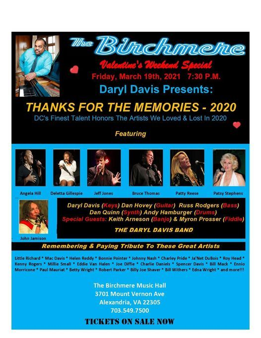 Birchmere Calendar 2022.Daryl Davis Presents Thanks For The Memories Birchmere The Birchmere Bailey S Crossroads March 19 2021 Allevents In