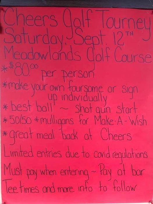 Cheers Pub Golf Tournament Sept 12