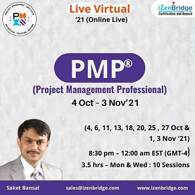 PMP Online live Sessions  4 Oct  3 Nov21 (Online Live)