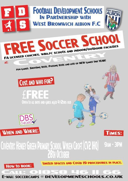 Fds-Wba FC Free Coventry October Half Term Soccer School, 28 October | Event in Coventry | AllEvents.in